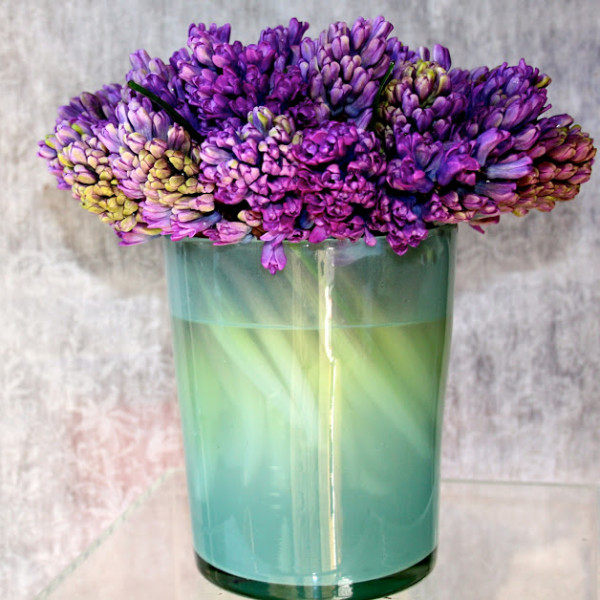 Purple Hyacinth in Recycled Czechoslovakian Glass